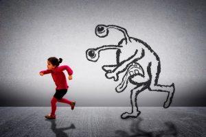 child running from imaginary monster