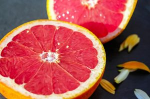 Pink grapefruit halves