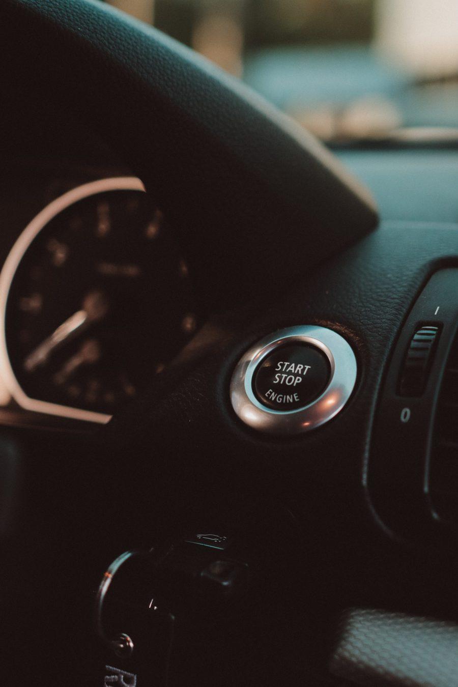 Start button on car dashboard